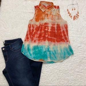 Tye dyed sheer sleeveless button up shirt